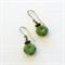 Green Disc Antique Bronze Earrings