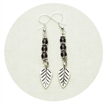 Purple glass beads silver leaf earrings