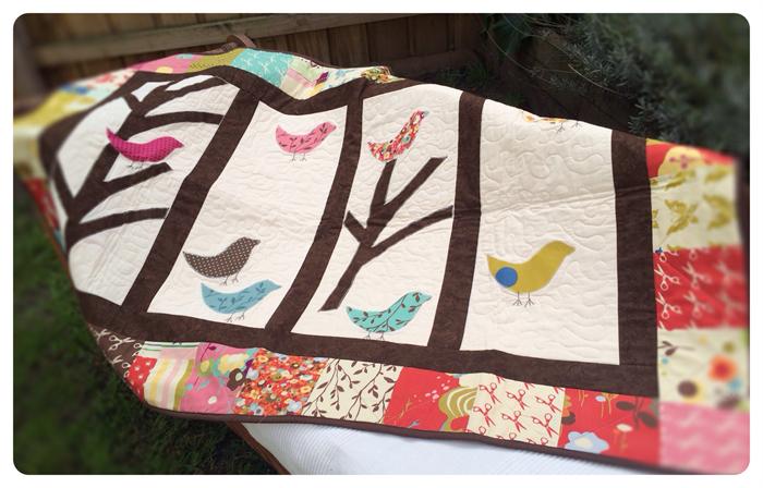 Bird Nest Applique Baby Quilt Blanket Moda