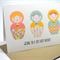 Happy Birthday Card - Female - 3 Geometric Babushka Dolls - HBF115