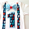 First Birthday Red White and Blue Bow Tie Boys Onesie Bodysuit