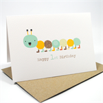 Happy 1st Birthday Card - Boy - Blue and Brown Caterpillar - HBC153