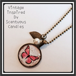 25mm Vintage Butterfly Glass Resin Necklace