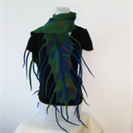 Felted Scarf Wrap Shawl Felt Green Blue