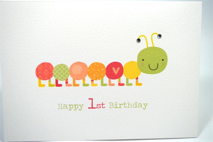 Happy 1st Birthday Card Girl Pink and Orange Caterpillar – Happy 1st Birthday Card