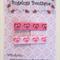Set of 2 printed hearts bright/pale pink ribbon hair clips