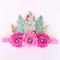 Feather Crown - Headdress - Watercolour Style Floral Print - Aqua Glitter