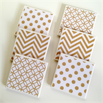 6 Gold Glitter Ceramic Tile Drink Coasters Geometric Chevron Spots Circles