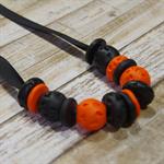 Ribbon Necklace - Black & Orange
