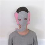 Child Elephant Face Mask, Pink and Grey