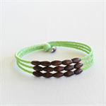 Apple Green and Wood Memory Wire Bracelet