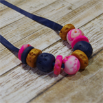 Ribbon Necklace - Navy, Gold & Pink Marble Beads