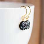 Tiny Flower. Vintage Glass Earrings. Black. Gold Vermeil