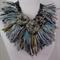plumfish Recycled Sari Silk Statement Necklace wearable art fiber art OOAK