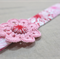 Headband with hand-crocheted flower / red pink magenta white dandelion girl