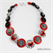 Cute Black Red White -  Buttons Necklace  - Jewellery - Bonus Earrings