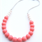 Washable Silicone Necklace Blush & White (hypoallergenic)