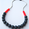 Silicone Teething Necklace Neon Pink & Slate
