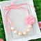 Miss Annabella Bead Necklace in Pink Pearl with removable Flower Clip