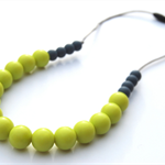 Washable Silicone Necklace Slate & Lime (hypoallergenic)