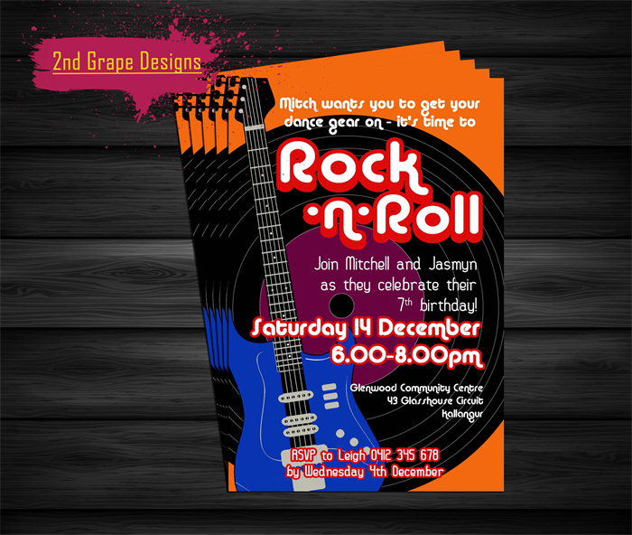 Disco RocknRoll Birthday Invitation