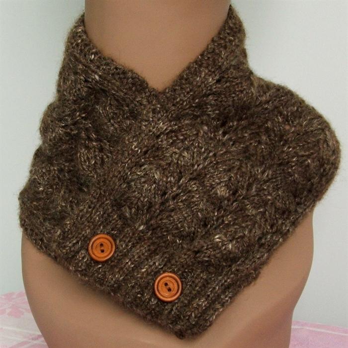 Handspun Natural Coloured Wool & Silk Scarf / Neckwarmer, Hand knitted ...