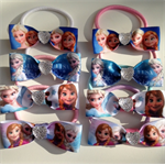 15 FROZEN Birthday Party Favors Hair Bow Elastic Ties