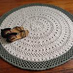 Khaki and ecru doily Crochet rug, handmade