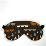 3 Layer Quilted Eye Mask - Clouds and rain drops on brilliant brown.