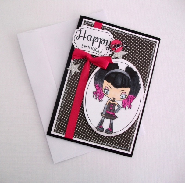 Birthday Card Black white and Pink Punkemo rock Teen – Emo Birthday Cards