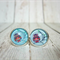 Owl - Glass Cabochon Stud Earrings