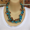 Turquoise Tan Big and Bold Crochet Wire Handmade OOAK Necklace by Top Shelf