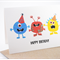 Happy Birthday Card Boy - 3 Party Monsters - HBC084