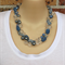 Blur Grey Clear Crochet Beaded Wire Handmade OOAK Necklace by Top Shelf