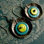 40% OFF SALE-Rustic Handmade Enamel Earrings aqua,green,sterling silver