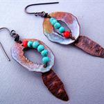 20% OFF SALE-Rustic handmade Enamel Earrings