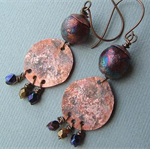 40% OFF SALE-Rustic handmade ceramic and copper earrings
