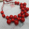 Red Wood Beaded Necklace