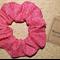NEW Hair Scrunchie - Red leaf pattern cotton