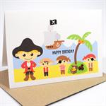 Happy Birthday Card - Boy - Pirates on Land  - HBC074