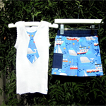 MaisyMoo Designs Beach Boy Board Shorts - 'Whale of a Time' Shorts Set