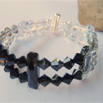 Swarovski Black, Grey & Crystal double bracelet with Sterling Silver