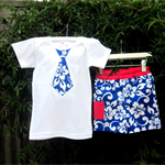 MaisyMoo Designs Beach Boy Board Shorts - 'Surf Time Blue' Shorts Set