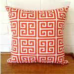 Outdoor Cushion Cover - Orange and White Maze