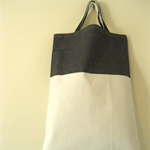 Navy and white drill fabric tote bag