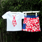 MaisyMoo Designs Beach Boy Board Shorts - 'Surf Time Red' Shorts Set