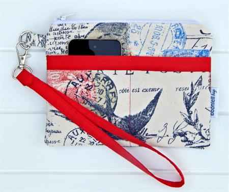 French Stamp Design in Red and Blue Wristlet Purse Pouch