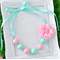Miss Annabella Bead Necklace in Pink & Aqua with removable Flower Clip