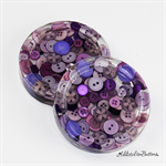 Mauve Purple Buttons Drink coasters / paperweights - 2 set - Resin