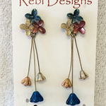 Hand Coloured Flower Studs in Deep metallic Red Gold and Deep Blue,